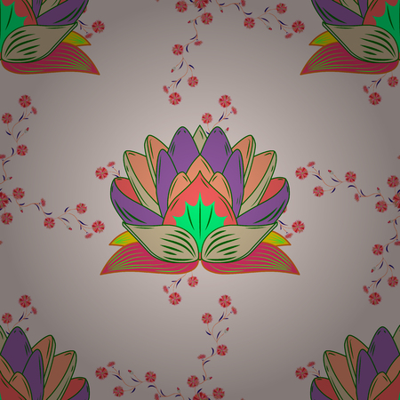 Seamless pattern with flowers on motley background. Vector illustration of pink flowers.