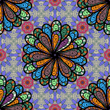 Motley vector illustration. Seamless exotic pattern with many tropical flowers. Blooming jungle. Ilustração