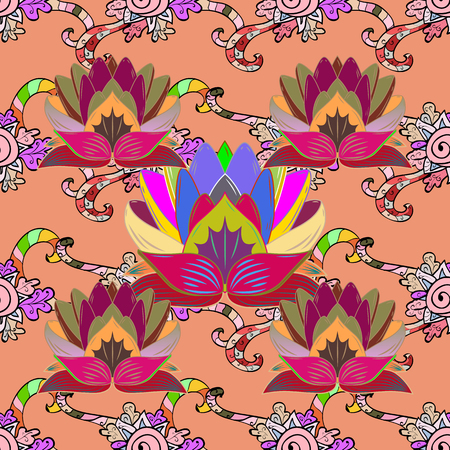 lay: Multicolor ornament of small simple flowers, vector abstract seamless pattern for fabric or textile design. Illustration