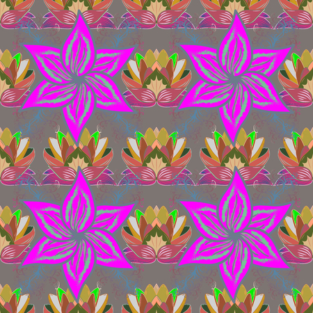 Vector illustration of pink flowers. Seamless pattern with flowers on motley background.