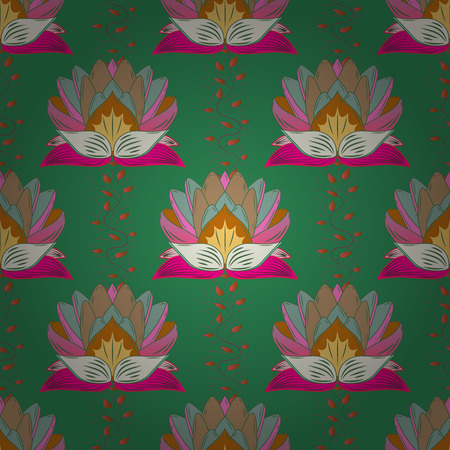 Vintage vector floral seamless pattern in pink colors.