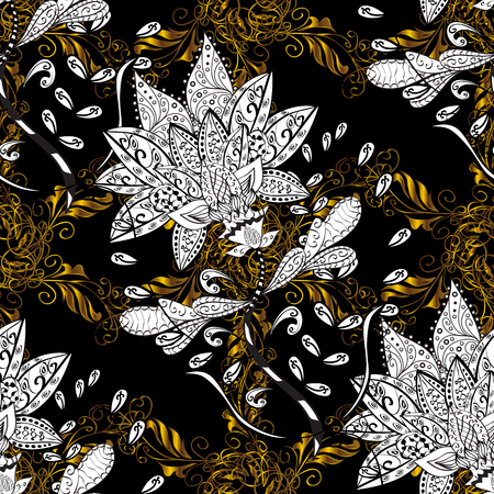 reticulated: Seamless vintage pattern on black background with golden elements and with white doodles. Christmas, snowflake, new year.