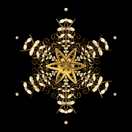 Vector abstract design. Of stylized gold snowflakes and dots on black background.