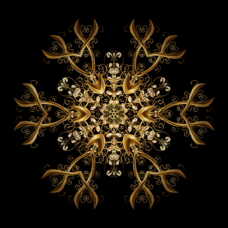 Snowflakes pattern. Vector christmas abstract design on black background with falling gold snowflakes.