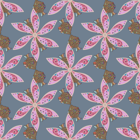 delectable: Varicolored vector seamless illustration. Tropical seamless pattern with many abstract flowers.