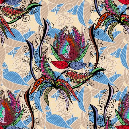 Blad natuurlijk patroon in kleuren. Naadloos bloemenpatroon kan worden gebruikt voor schets, website achtergrond, verpakkingspapier. Vector bloem concept. Zomerontwerp.