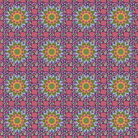 Round texture in Vector illustration. Floral ornament seamless pattern.