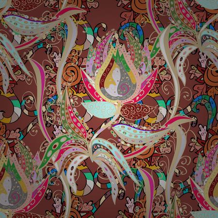 Seamless pattern with floral motif. Seamless floral pattern with flowers, watercolor. Vector flower illustration. Ilustração