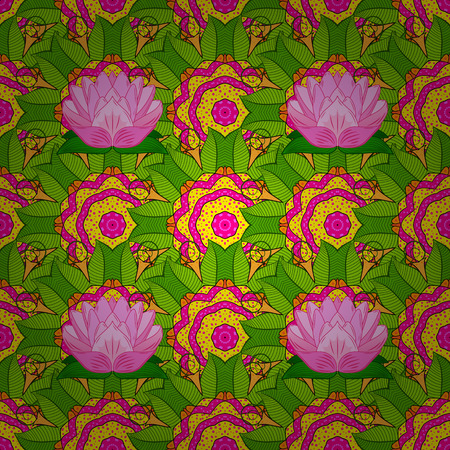 Elegant seamless pattern with decorative flowers in colors. Vector floral pattern for wedding invitations, greeting cards, scrapbooking, print, gift wrap, manufacturing fabric and textile. Çizim