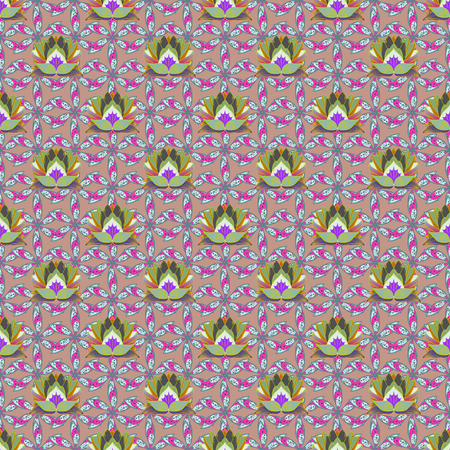 Floral seamless pattern with bright summer flowers in pink colors. Çizim