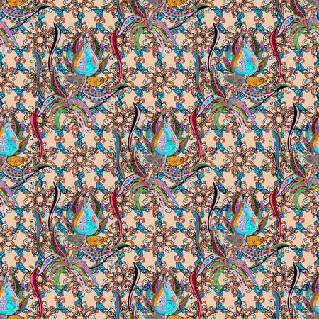 추상 꽃, 원활한 패턴 벡터 배경 수채화 손으로 페인팅합니다. 일러스트
