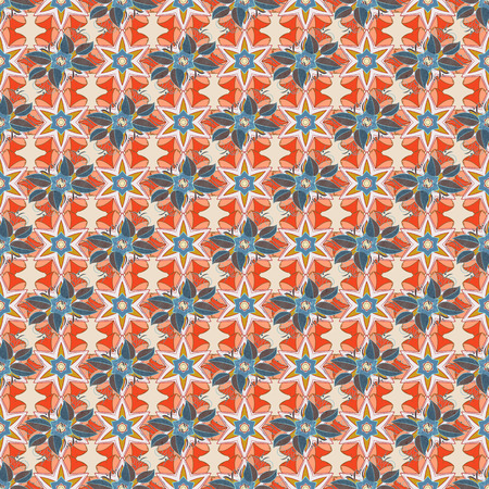 Vintage vector floral seamless pattern in colors. Illustration
