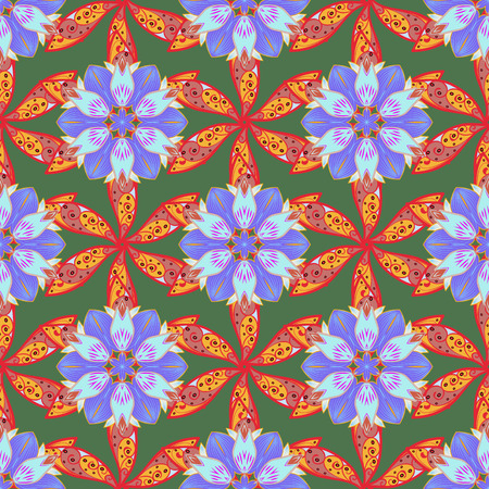 lay: Varicolored vector seamless illustration. Tropical seamless pattern with many abstract flowers.