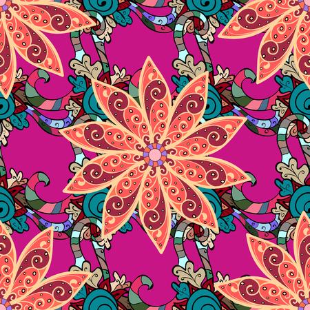 벡터 추상 꽃 배경입니다. 핑크 작은 꽃과 예쁜 꽃 프린트. 잡종 원활한 패턴.