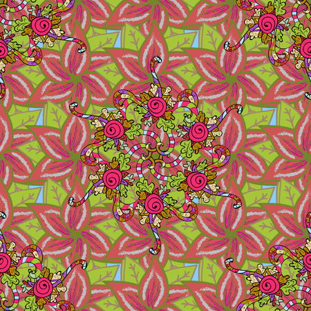 ethno: Vector flower concept. Summer design. Leaf natural pattern in colors. Seamless floral pattern can be used for sketch, website background, wrapping paper.