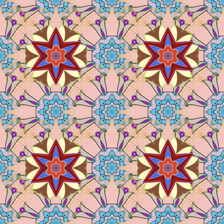 peculiar: Trendy seamless floral pattern. Vector illustration with many flowers.