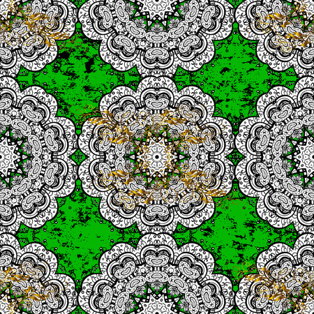 slanting: Pattern on green and white background with white elements. White pattern. Vector oriental ornament.