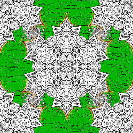 White element on green background. Damask background. Floral sketch. White green and white floral ornament in baroque style. Illustration