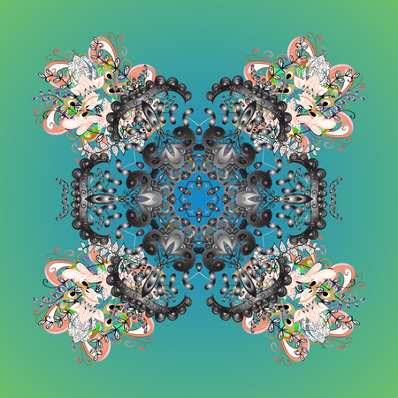 Vector illustration. Simple snowflakes ornamental pattern, floral elements, decorative ornament. Arab, Asian, ottoman motifs. Ornamental pattern on background.