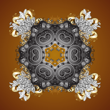 Vector golden snowflakes and christmas winter pattern. Digital hand drawn of element in the clean, whimsical and modern surface pattern on brown background.