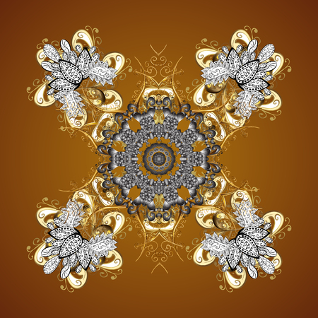 Snowflake frame. Christmas frame with abstract golden snowflakes and dots on brown background. Vector illustration.