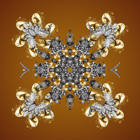Texture with stylized golden snowflakes and dots on a brown background. Starry Sky. Falling snow.