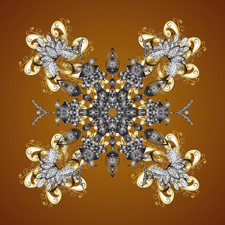 Textuur met gestileerde gouden sneeuwvlokken en punten op een bruine achtergrond. Sterrenhemel. Vallende sneeuw.