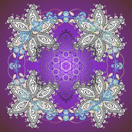 Vector abstract design. Ornamental pattern of stylized snowflakes and dots on background.
