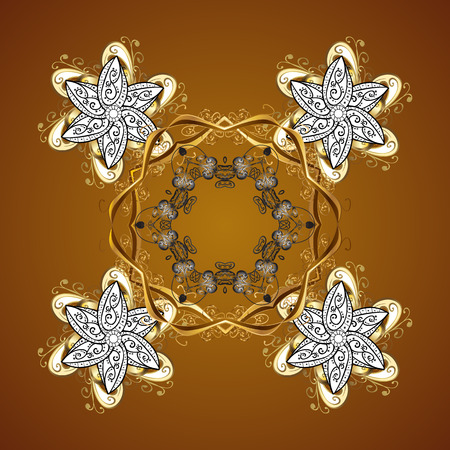 cross hatched: Vector seamless pattern on brown background. Winter background with snowflakes and dots.