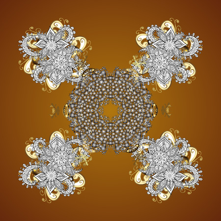 offering: Snowflake frame. Christmas frame with abstract snowflakes and dots on brown background. Vector illustration.