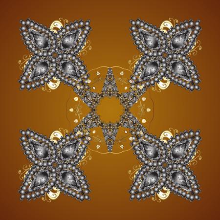Vector snowflakes on a brown background. Abstract minimal seamless pattern background. Illusztráció