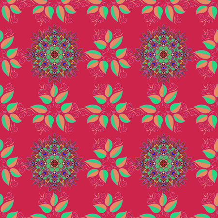 saturated color: Vector seamless colorful floral pattern. Hand drawn floral texture, decorative flowers. Illustration