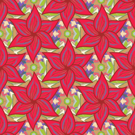 motley: Blooming jungle. Motley vector illustration. Seamless exotic pattern with many tropical flowers. Illustration