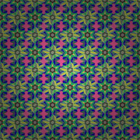 작은 꽃에 벡터 귀여운 패턴입니다. 봄 꽃 배경과 꽃입니다. 패션 인쇄용 템플릿입니다. 작은 다채로운 꽃. 잡종 그림입니다.