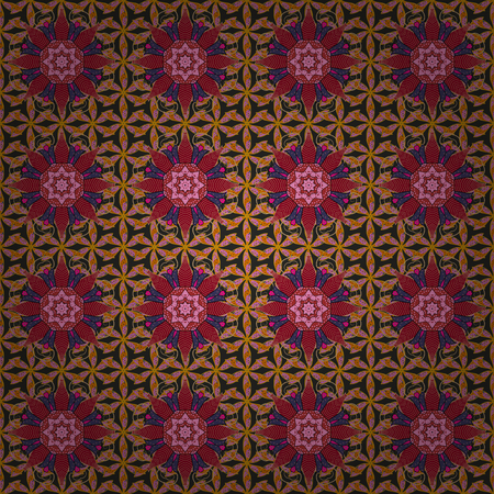 Flower Mandala seamless pattern. Vector Ethnic Oriental Circle Ornament. Islam, Arabic, Indian, ottoman motifs on a background.