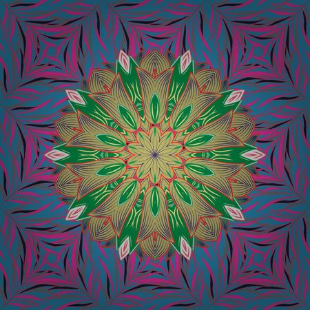 qigong: Colored stickers, flash temporary tattoo, mehndi and yoga design, boho, magic symbol. Invitation, wedding card, scrapbooking. Colored over. Vintage vector pattern. Decorative ornate round mandala.