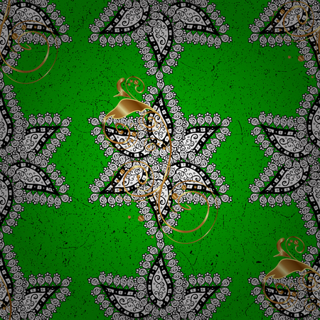 Oriental style arabesques. Vector. White texture curls. ?attern on green and white background with white elements. Openwork delicate pattern. Brilliant lace, stylized flowers, paisley.