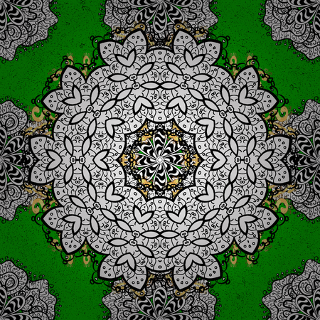White pattern. Floral pattern. Green and white background with elements. Vector white floral ornament brocade textile pattern. Illustration