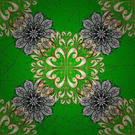 foliate: Vector abstract background with repeating elements. Green and white on background. Oriental classic white pattern.