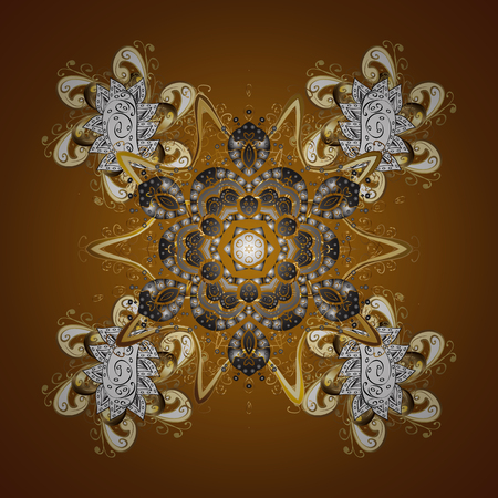 Design on brown background. Abstract with Floral Elements. Vector winter pattern.