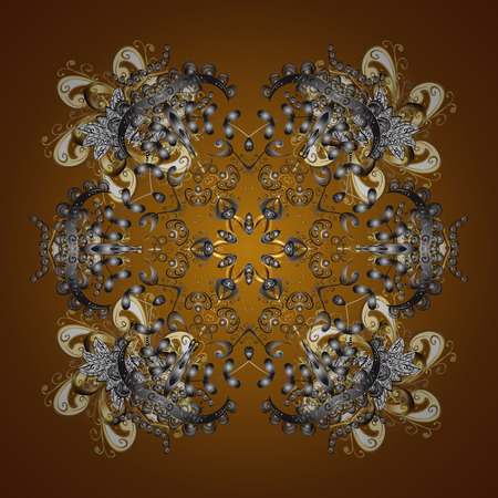 Vector golden snowflakes on a brown background. Abstract minimal background.
