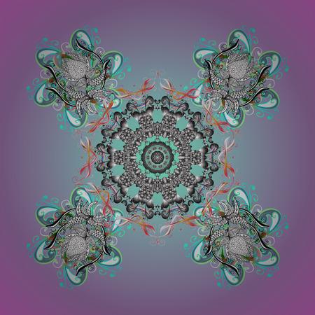 Vector snowflakes on a background. Abstract minimal ornamental pattern background. Ilustração