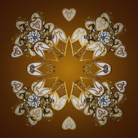 Illustrazione vettoriale di riserva neve caduta. Fiocchi di neve dorati, nevicate, neve stilizzata su sfondo marrone. Design.