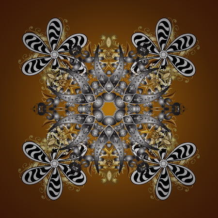 Template for cover, poster, t-shirt or fabric. Vector winter illustration in brown colors. Hand drawn abstract snowflakes seamless.