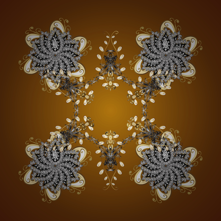 Watercolor painting effect. Handmade drawing. Vector seamless pattern with snowflakes, doodles and dots on brown background. For the Christmas design and decoration.