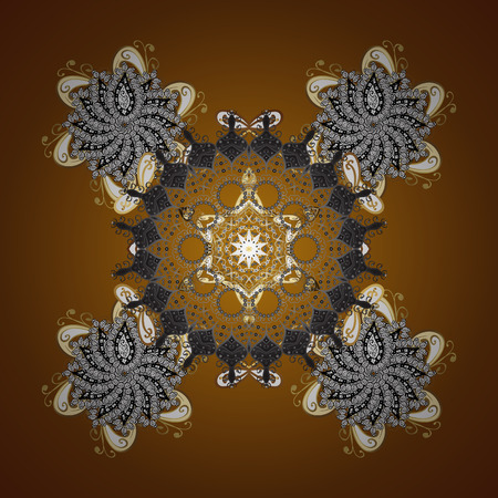 Snowflakes pattern in brown colors. Vector seamless pattern with stylized snowflakes.