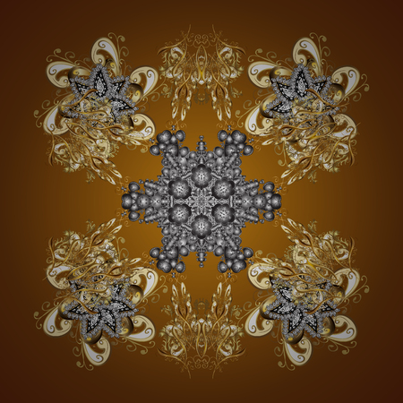 Starry Sky. Falling snow. Seamless texture with stylized snowflakes and dots on a brown background.