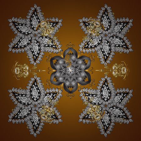 ornamentations: Celebratory seamless pattern with snowflakes hanging on strings.