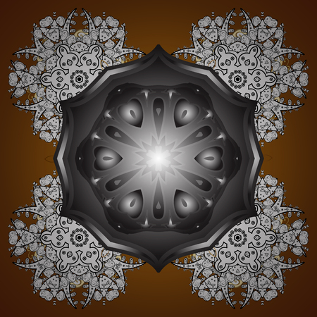 Snowflakes winter New Year frame on brown background. Illustration