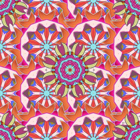 saturated color: Vector floral pattern for wedding invitations, greeting cards, scrapbooking, print, gift wrap, manufacturing fabric and textile. Elegant seamless pattern with decorative flowers in colors.